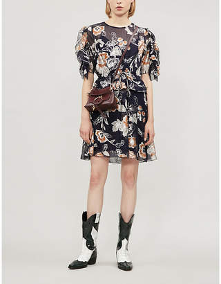 See by Chloe Floral-print loose-fit silk and cotton-blend dress