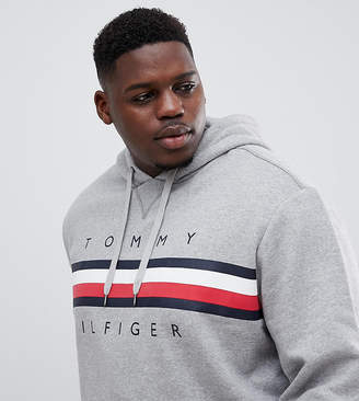 Tommy Hilfiger Big & Tall Icon stripe logo print hoodie in gray marl