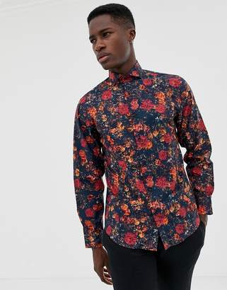 Selected floral printed smart shirt in slim fit