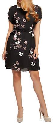 Dex Short-Sleeve Cold-Shoulder Belted Dress