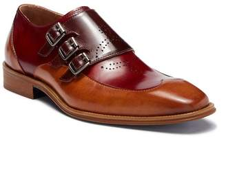 Steven Land Wingtip Triple Monk Strap Leather Loafer