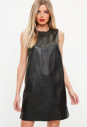 Missguided Black Studded Faux Leather Shift Dress