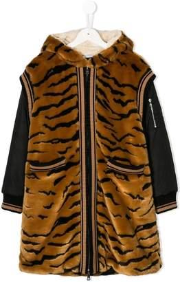 Dolce & Gabbana faux fur tiger hooded jacket