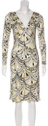 Emilio Pucci Satin Abstract Print Dress
