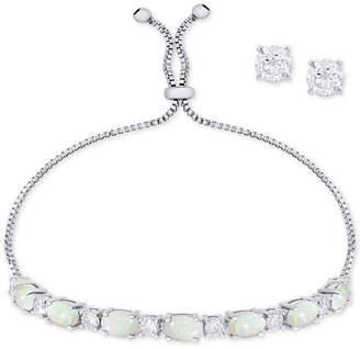 Macy's Simulated Opal Slider Bracelet & Cubic Zirconia Stud Earrings Set In Fine Silver-Plate, October Birthstone