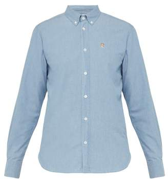 MAISON KITSUNÉ Fox Embroidered Cotton Chambray Shirt - Mens - Blue