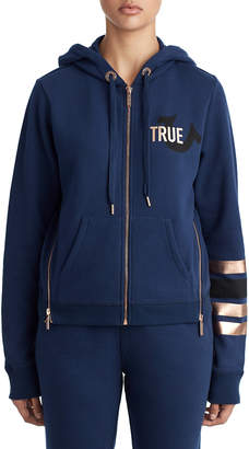 True Religion WOMENS METALLIC STRIPE ZIP UP HOODIE