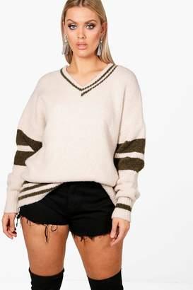 boohoo Plus Rachel Varsity Stripe Sleeve Jumper