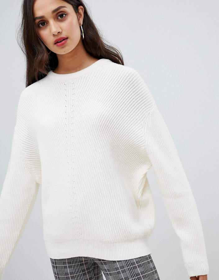 Bershka knitted jumper in cream