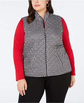 Karen Scott Plus Size Houndstooth Quilted Vest