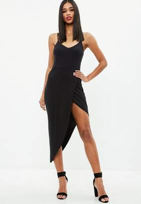 Missguided Black Jersey Plunge Asymmetric Hem Midi Dress