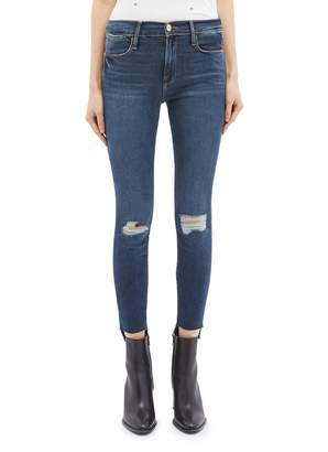 Frame 'Le High Skinny' staggered cuff ripped jeans