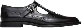 Tod's Monk Strap With Fringe In Black Leather