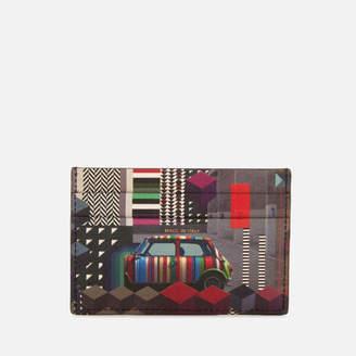 Men's Mini Print Credit Card Case - Black