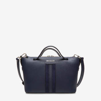 Bally Supra Bowling Small Blue, Women's bovine leather bowling bag in marine
