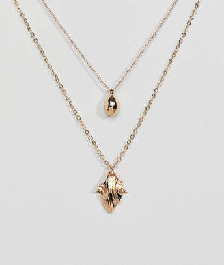 Asos Ball and Folded Metal Pendant Multirow Necklace