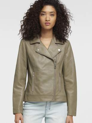 Donna Karan Donnakaran LEATHER MOTO JACKET Grey XS