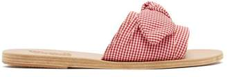 Ancient Greek Sandals Taygete Gingham Cotton Sandals - Womens - Red White