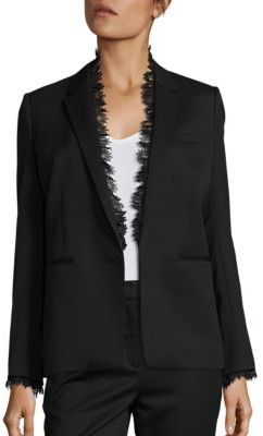 The Kooples Smoking Lace Trimmed Suit Jacket $625 thestylecure.com