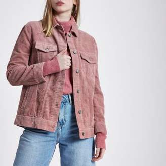 River Island Womens Pink cord trucker jacket