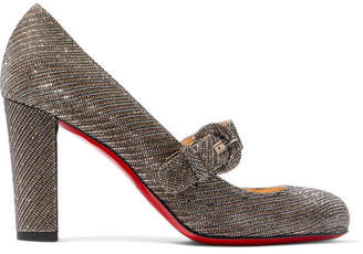 Christian Louboutin Fyalta 85 Glittered Canvas Mary Jane Pumps - Bronze