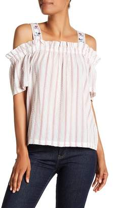 Vince Camuto Embroidered Bubble Stripe Cold Shoulder Top
