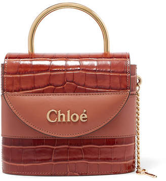 Chloé Aby Lock Small Croc-effect Leather Shoulder Bag - Brown