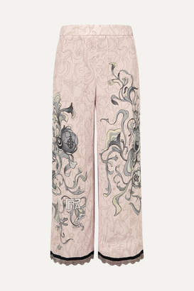 Prada - Cropped Chain-trimmed Printed Crepe Straight-leg Pants - Pastel pink