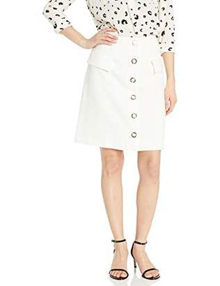 Nine West Women's Stretch Button Front Skirt with Pocket Detail