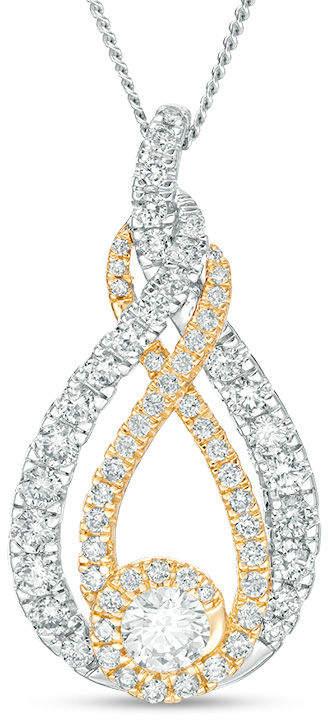 Zales Interwovena 1 CT. T.W. Diamond Pendant in 10K Two-Tone Gold - 19