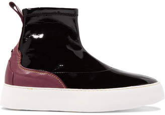 Ellery Two-tone Patent And Matte-leather High-top Sneakers - Black