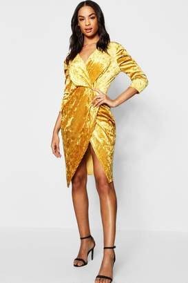 boohoo Tall Crushed Velvet Wrap Dress
