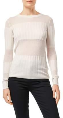 J Brand Andrea Mesh Stripe Silk & Cashmere Sweater