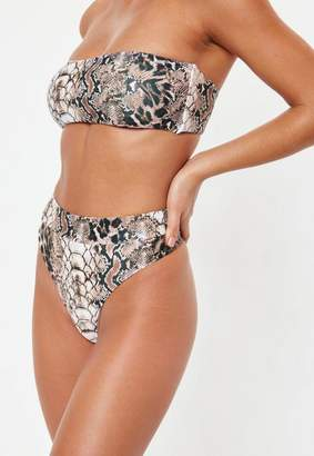 Missguided Brown Snakeskin Highwaisted Thong Bikini Bottoms - Mix And Match