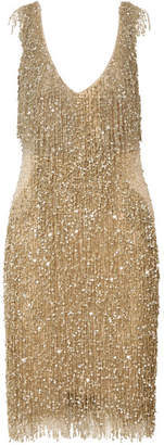 Naeem Khan Embellished Chiffon Dress - Gold