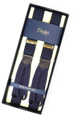 Drakes Drake's Navy Polka Dot Suspenders