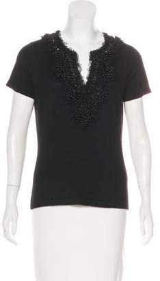 Naeem Khan Embellished Short Sleeve Top