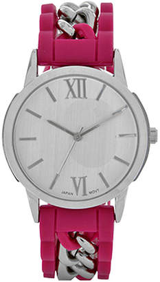 FASHION WATCHES Womens Pink Silicone and Silver-Tone Strap Watch
