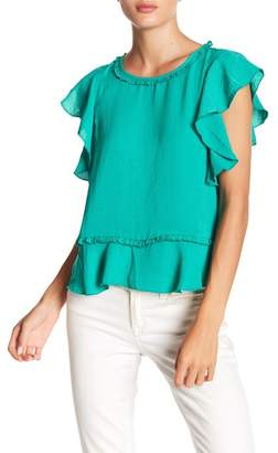 BB Dakota Amina Short Sleeve Ruffle Blouse