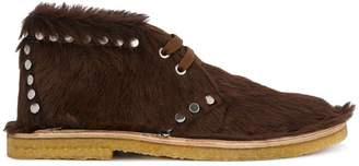 Prada studded fur shoe boots