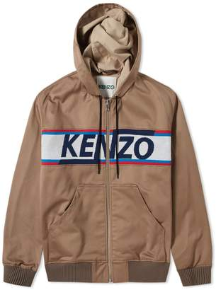 Kenzo Knitted Logo Hooded Canvas Jacket