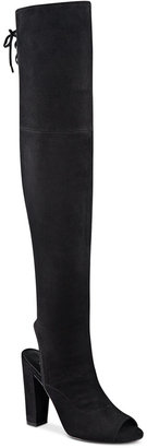 GUESS Women's Galle Over-The-Knee Peep-Toe Boots $139 thestylecure.com