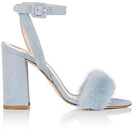 Barneys New York Women's Fur-Trimmed Suede Sandals-Lt. Blue
