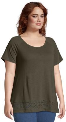 Just My Size Plus Size Lace Panel Slub Short Sleeve Top