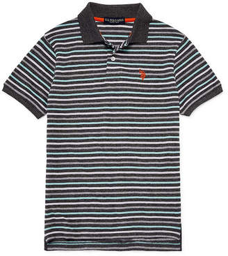 U.S. Polo Assn. USPA Short Sleeve Stripe Pique Polo - Big Kid Boys