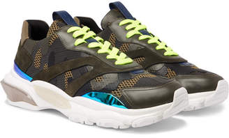 Valentino Garavani Bounce Leather, Suede and Mesh Sneakers - Men - Army green