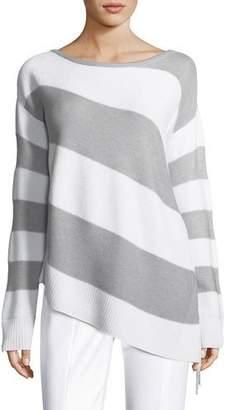 St. John Striped Link-Textured Asymmetric Sweater