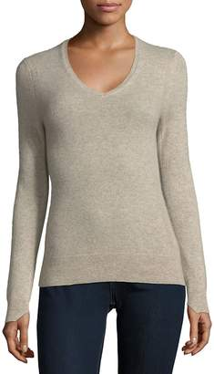 Cashmere Saks Fifth Avenue Women's Ribbed V-Neck Cashmere Pullover - Oatmeal Heather, Size x-large