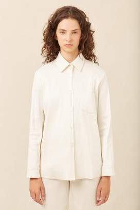 Mansur Gavriel Linen Blend Long Sleeve Button Down