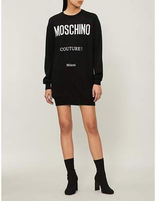 Moschino print wool sweatshirt dress